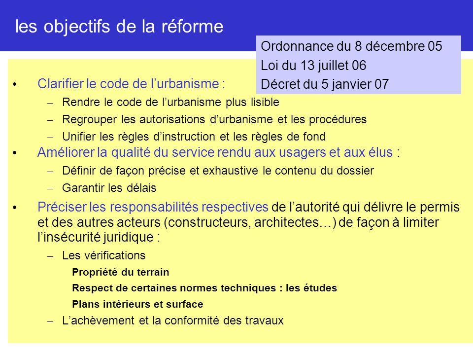 2 les objectifs de la réforme Clarifier le code de lurbanisme : – Rendre le code de lurbanisme plus lisible – Regrouper les autorisations durbanisme e