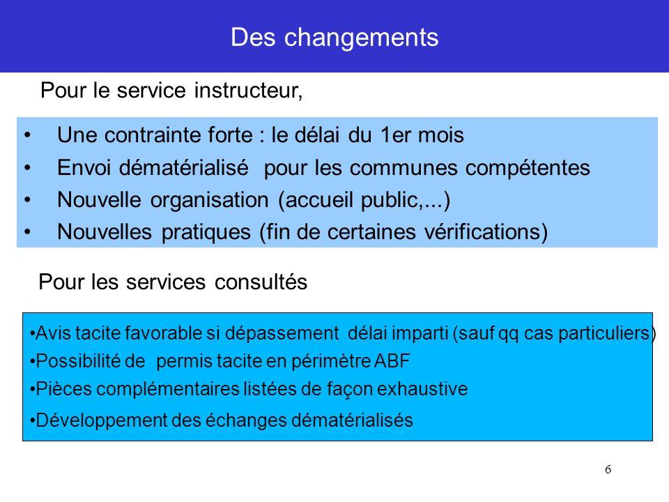 6 Des changements Pour le service instructeur, Une contrainte forte : le délai du 1er mois Envoi dématérialisé pour les communes compétentes Nouvelle