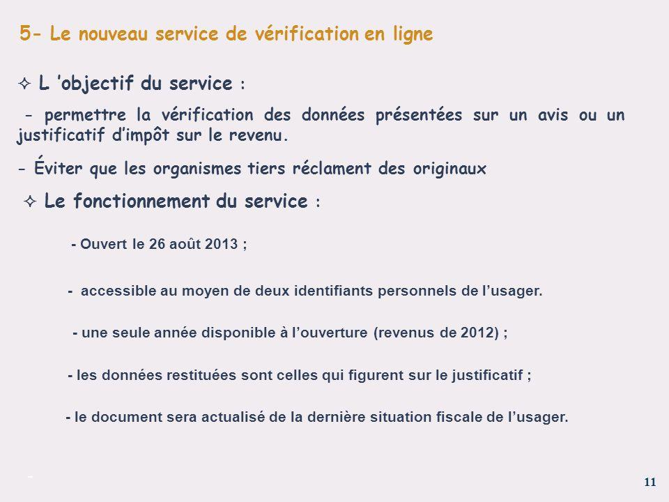 11 - 5- Le nouveau service de vérification en ligne L objectif du service : - permettre la vérification des données présentées sur un avis ou un justi