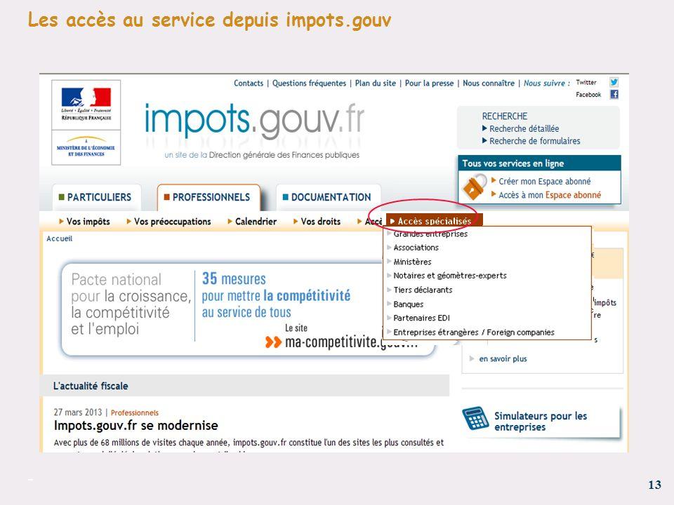 13 - Les accès au service depuis impots.gouv