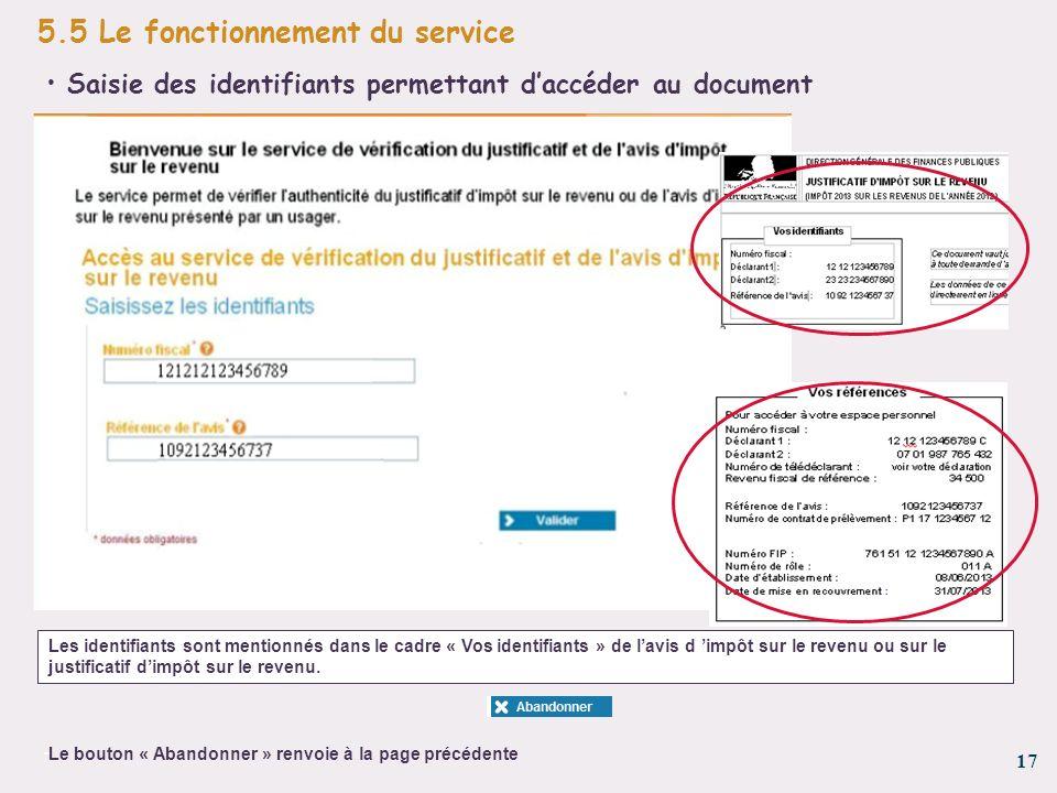 17 - 5.5 Le fonctionnement du service Les identifiants sont mentionnés dans le cadre « Vos identifiants » de lavis d impôt sur le revenu ou sur le jus