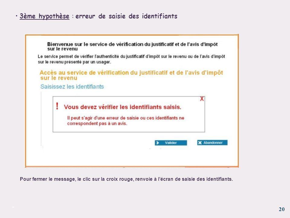 20 - 3ème hypothèse : erreur de saisie des identifiants Pour fermer le message, le clic sur la croix rouge, renvoie à lécran de saisie des identifiant