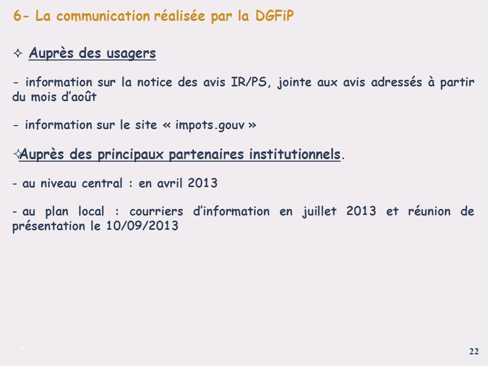 22 - 6- La communication réalisée par la DGFiP Auprès des usagers - information sur la notice des avis IR/PS, jointe aux avis adressés à partir du moi