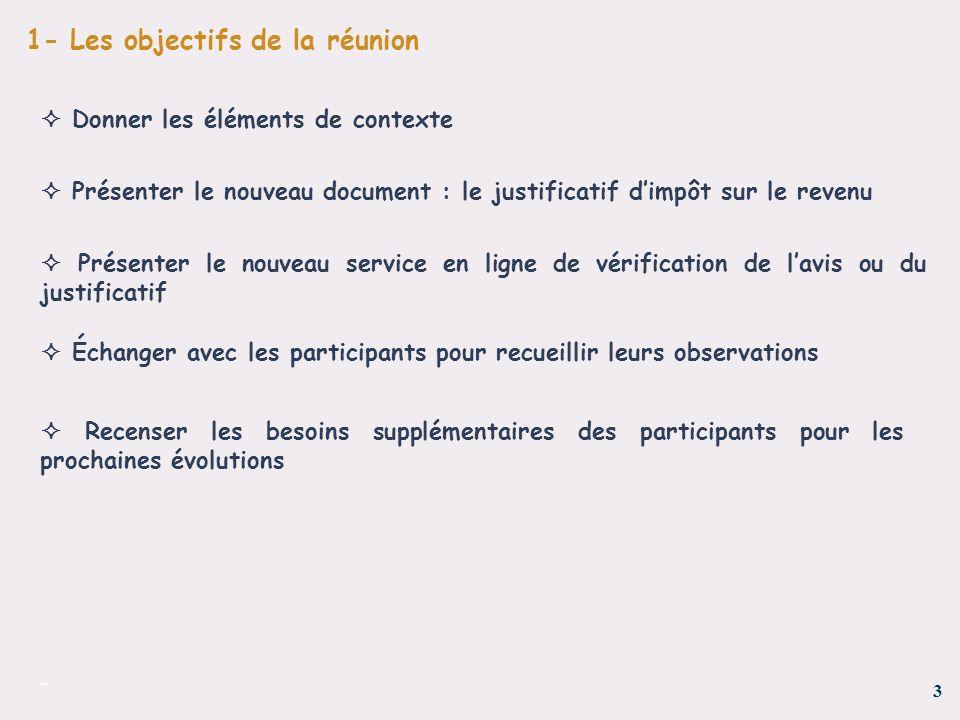 3 - 1- Les objectifs de la réunion Présenter le nouveau document : le justificatif dimpôt sur le revenu Présenter le nouveau service en ligne de vérif
