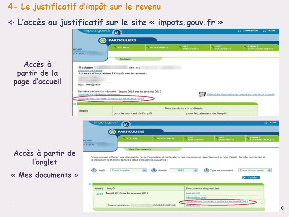 9 - Laccès au justificatif sur le site « impots.gouv.fr » 4- Le justificatif dimpôt sur le revenu Accès à partir de la page daccueil Accès à partir de