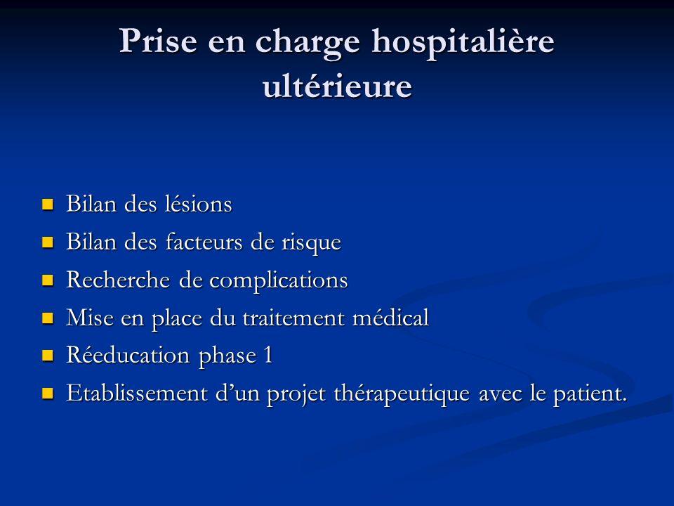 Prise en charge hospitalière ultérieure Bilan des lésions Bilan des lésions Bilan des facteurs de risque Bilan des facteurs de risque Recherche de com