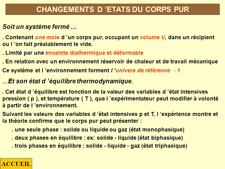 p T « SOLVANTS » « GAZ PERMANENTS » « GAZ LIQUEFIES » « COMPOSES A POINT DE SUBLIMATION » DIFFERENTS COMPOSES ACCUEIL