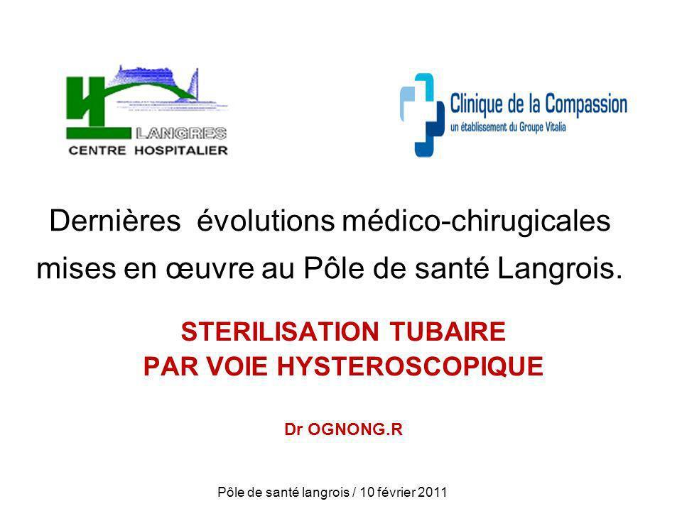 Dernières évolutions médico-chirugicales mises en œuvre au Pôle de santé Langrois. STERILISATION TUBAIRE PAR VOIE HYSTEROSCOPIQUE Dr OGNONG.R Pôle de