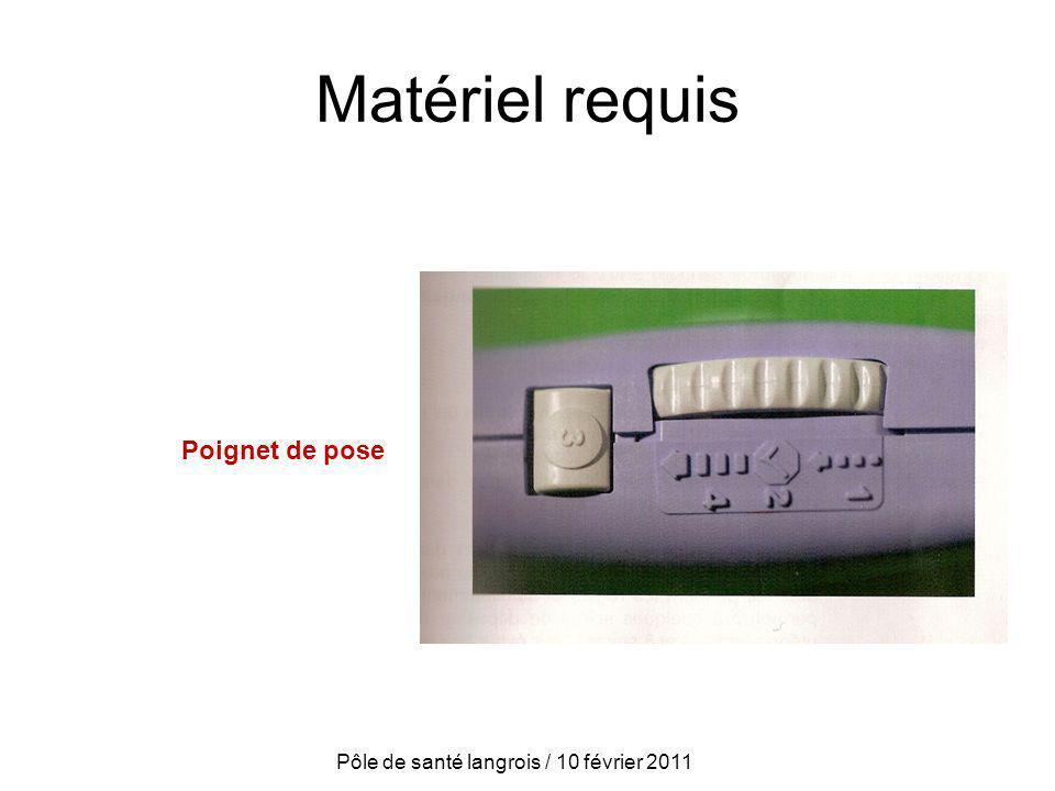 Matériel requis Poignet de pose Pôle de santé langrois / 10 février 2011