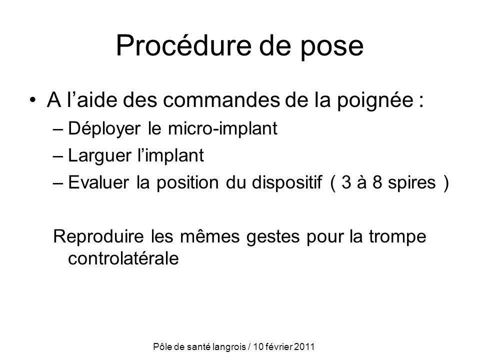 Procédure de pose A laide des commandes de la poignée : –Déployer le micro-implant –Larguer limplant –Evaluer la position du dispositif ( 3 à 8 spires