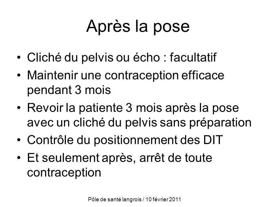 Après la pose Cliché du pelvis ou écho : facultatif Maintenir une contraception efficace pendant 3 mois Revoir la patiente 3 mois après la pose avec u