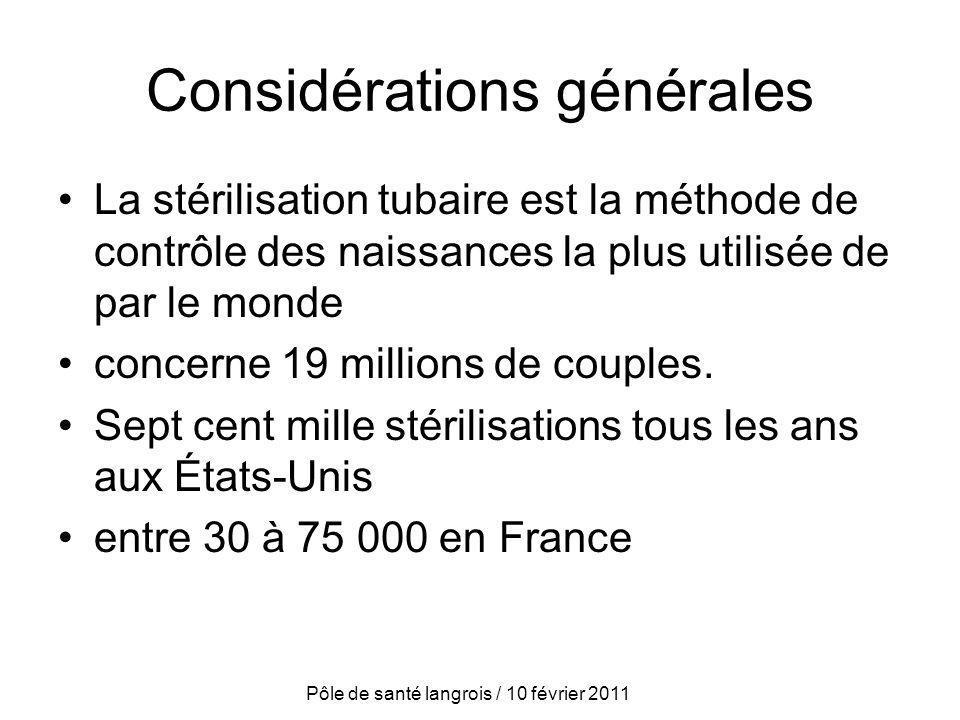 Considérations générales La stérilisation tubaire est la méthode de contrôle des naissances la plus utilisée de par le monde concerne 19 millions de c