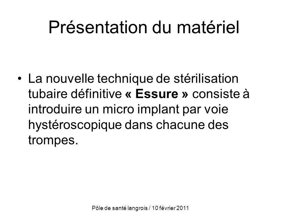 Présentation du matériel La nouvelle technique de stérilisation tubaire définitive « Essure » consiste à introduire un micro implant par voie hystéros