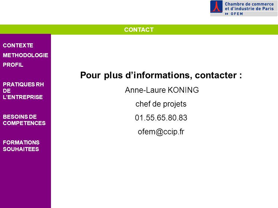 CONTACT CONTEXTE METHODOLOGIE PROFIL PRATIQUES RH DE LENTREPRISE BESOINS DE COMPETENCES FORMATIONS SOUHAITEES Pour plus dinformations, contacter : Anne-Laure KONING chef de projets 01.55.65.80.83 ofem@ccip.fr