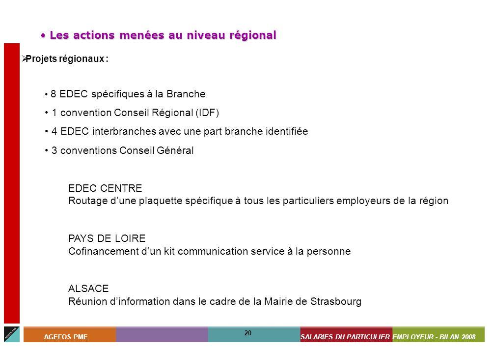 ASSISTANTS MATERNELS - BILAN 2008 20 AGEFOS PMESALARIES DU PARTICULIER EMPLOYEUR - BILAN 2008 20 Projets régionaux : 8 EDEC spécifiques à la Branche 1
