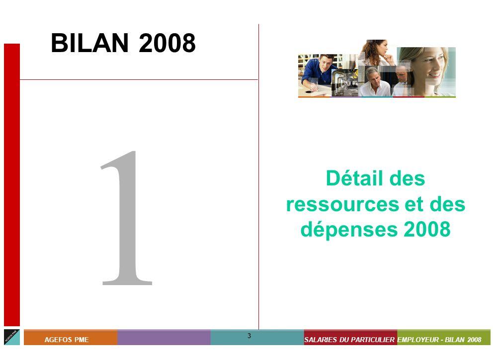 ASSISTANTS MATERNELS - BILAN 2008 3 AGEFOS PMESALARIES DU PARTICULIER EMPLOYEUR - BILAN 2008 3 BILAN 2008 1 Détail des ressources et des dépenses 2008