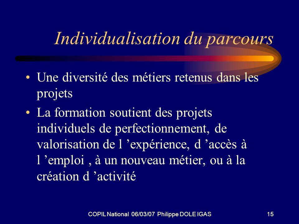COPIL National 06/03/07 Philippe DOLE IGAS15 Individualisation du parcours Une diversité des métiers retenus dans les projets La formation soutient de