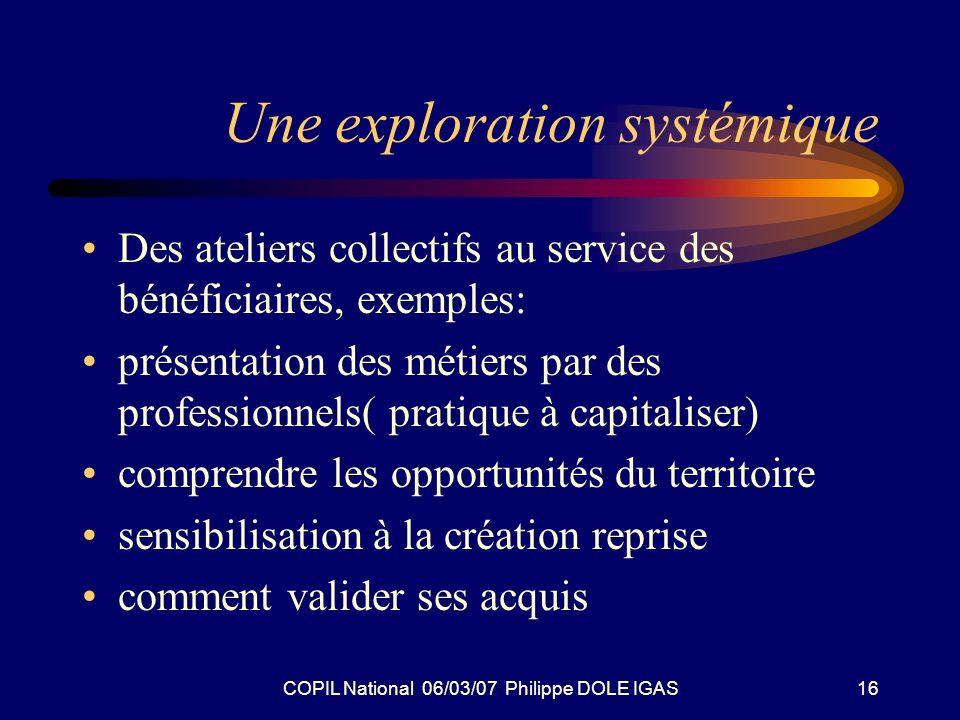 COPIL National 06/03/07 Philippe DOLE IGAS16 Une exploration systémique Des ateliers collectifs au service des bénéficiaires, exemples: présentation d
