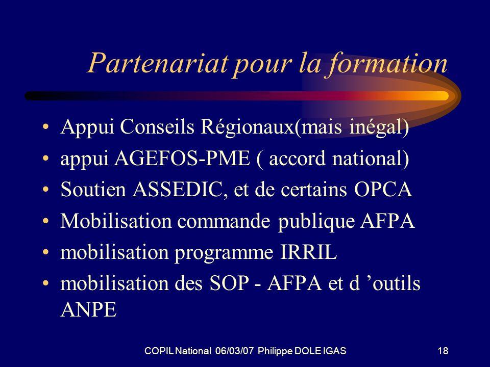 COPIL National 06/03/07 Philippe DOLE IGAS18 Partenariat pour la formation Appui Conseils Régionaux(mais inégal) appui AGEFOS-PME ( accord national) S