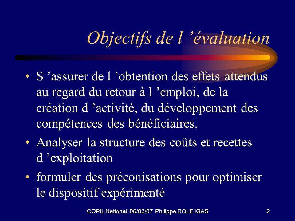 COPIL National 06/03/07 Philippe DOLE IGAS2 Objectifs de l évaluation S assurer de l obtention des effets attendus au regard du retour à l emploi, de la création d activité, du développement des compétences des bénéficiaires.