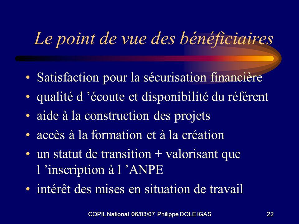 COPIL National 06/03/07 Philippe DOLE IGAS22 Le point de vue des bénéficiaires Satisfaction pour la sécurisation financière qualité d écoute et dispon