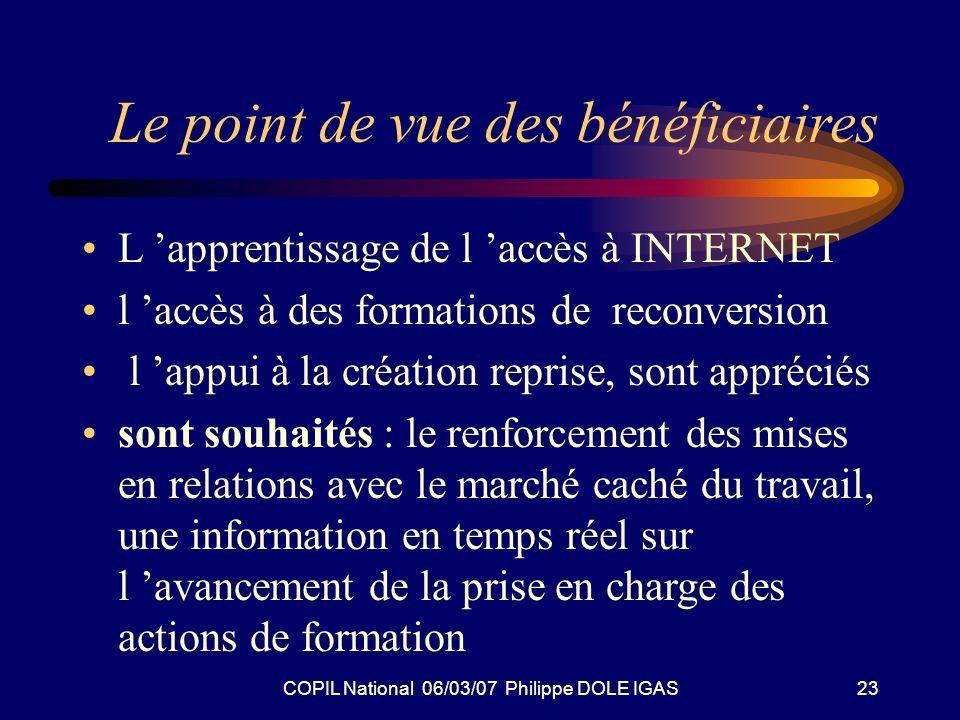 COPIL National 06/03/07 Philippe DOLE IGAS23 Le point de vue des bénéficiaires L apprentissage de l accès à INTERNET l accès à des formations de recon