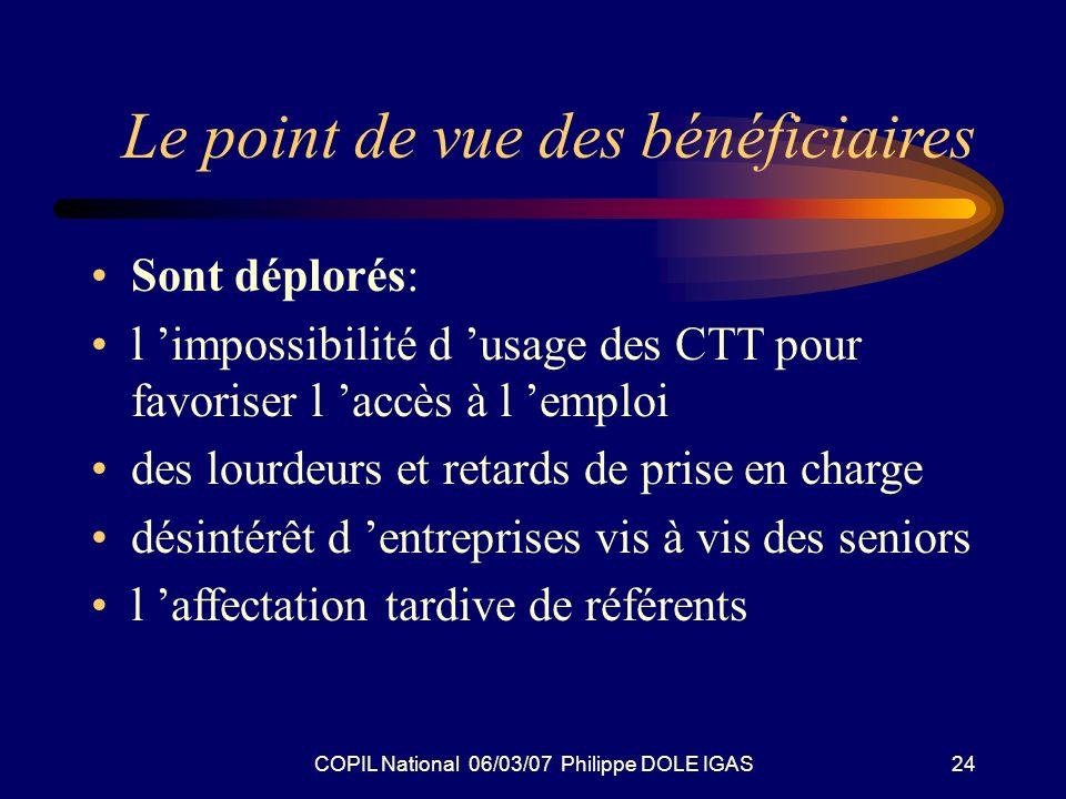 COPIL National 06/03/07 Philippe DOLE IGAS24 Le point de vue des bénéficiaires Sont déplorés: l impossibilité d usage des CTT pour favoriser l accès à