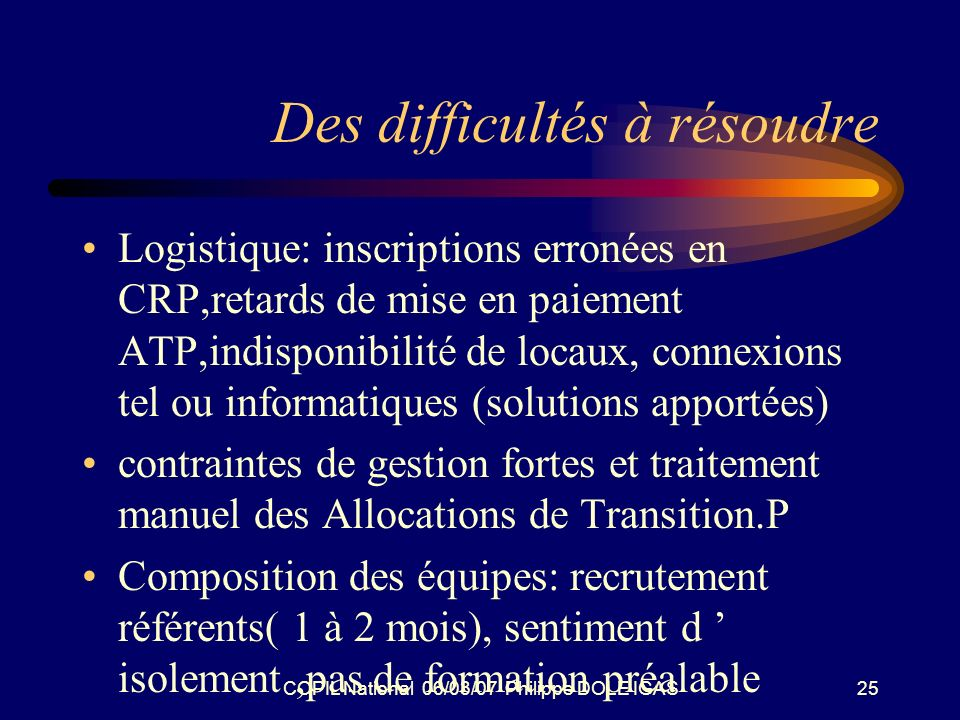 COPIL National 06/03/07 Philippe DOLE IGAS25 Des difficultés à résoudre Logistique: inscriptions erronées en CRP,retards de mise en paiement ATP,indis
