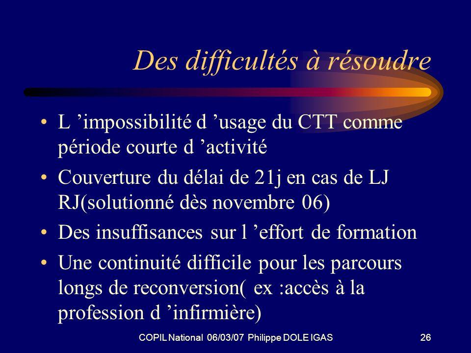 COPIL National 06/03/07 Philippe DOLE IGAS26 Des difficultés à résoudre L impossibilité d usage du CTT comme période courte d activité Couverture du d