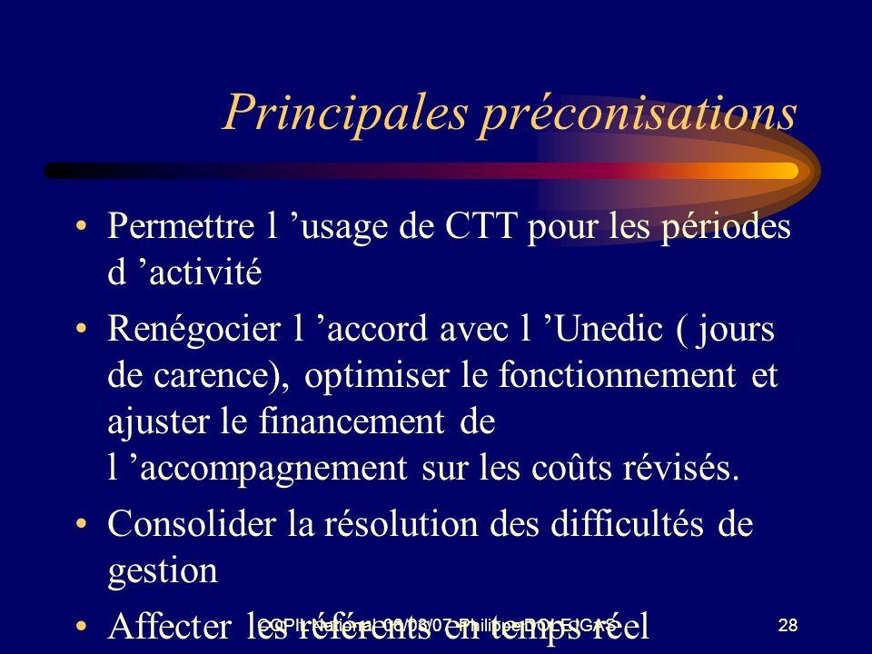 COPIL National 06/03/07 Philippe DOLE IGAS28 Principales préconisations Permettre l usage de CTT pour les périodes d activité Renégocier l accord avec l Unedic ( jours de carence), optimiser le fonctionnement et ajuster le financement de l accompagnement sur les coûts révisés.