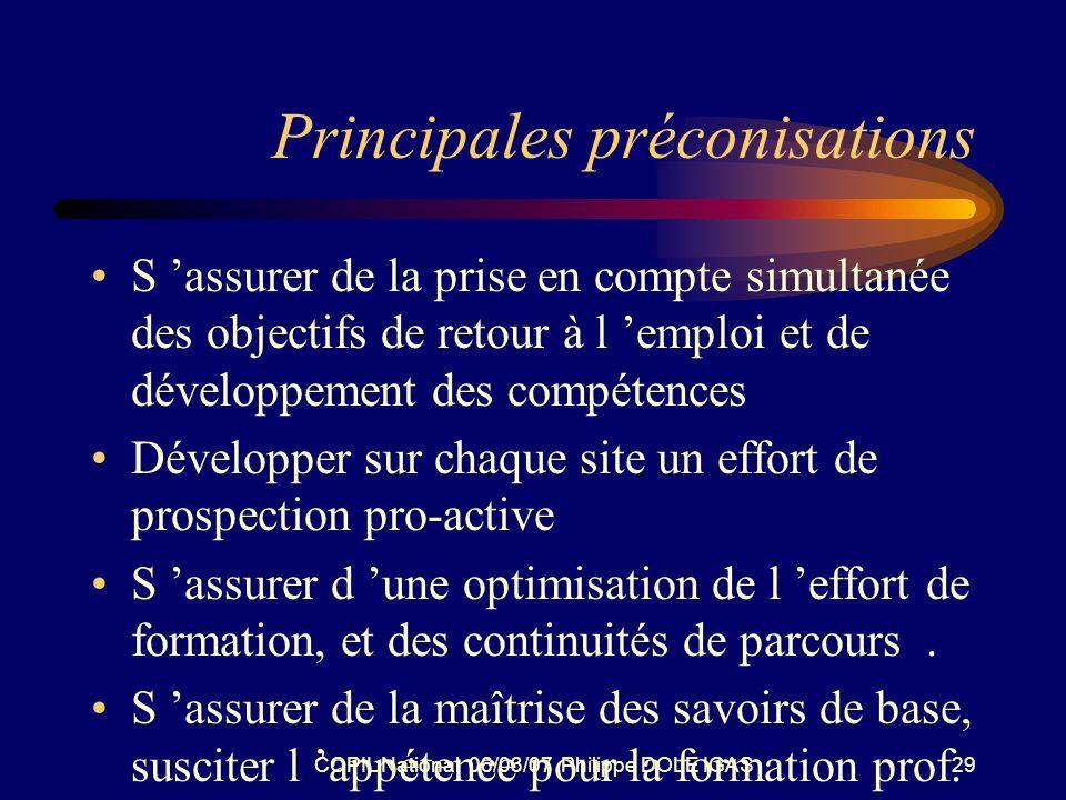 COPIL National 06/03/07 Philippe DOLE IGAS29 Principales préconisations S assurer de la prise en compte simultanée des objectifs de retour à l emploi