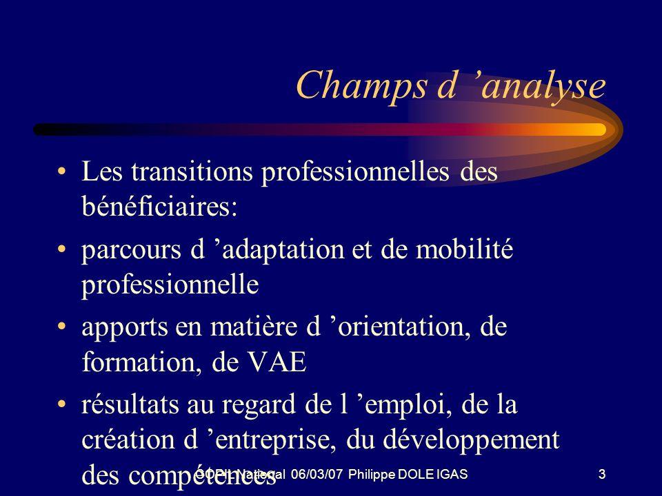 COPIL National 06/03/07 Philippe DOLE IGAS3 Champs d analyse Les transitions professionnelles des bénéficiaires: parcours d adaptation et de mobilité professionnelle apports en matière d orientation, de formation, de VAE résultats au regard de l emploi, de la création d entreprise, du développement des compétences