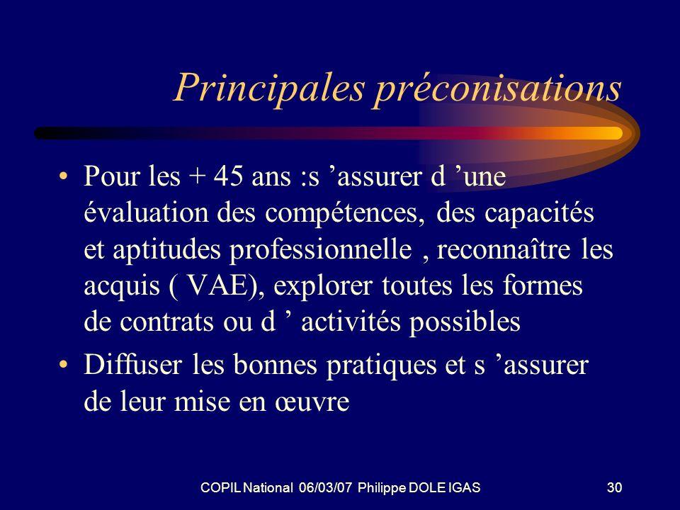 COPIL National 06/03/07 Philippe DOLE IGAS30 Principales préconisations Pour les + 45 ans :s assurer d une évaluation des compétences, des capacités e