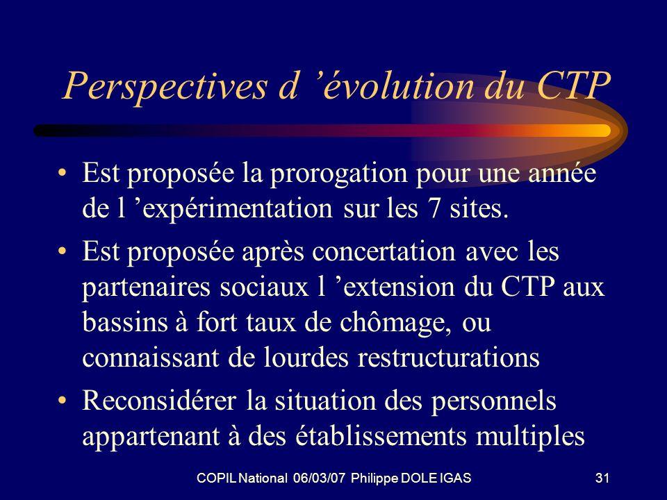 COPIL National 06/03/07 Philippe DOLE IGAS31 Perspectives d évolution du CTP Est proposée la prorogation pour une année de l expérimentation sur les 7 sites.