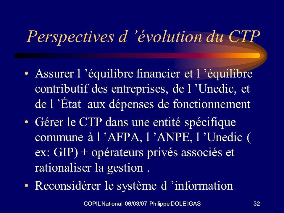 COPIL National 06/03/07 Philippe DOLE IGAS32 Perspectives d évolution du CTP Assurer l équilibre financier et l équilibre contributif des entreprises, de l Unedic, et de l État aux dépenses de fonctionnement Gérer le CTP dans une entité spécifique commune à l AFPA, l ANPE, l Unedic ( ex: GIP) + opérateurs privés associés et rationaliser la gestion.