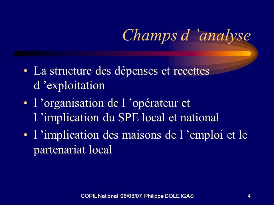 COPIL National 06/03/07 Philippe DOLE IGAS4 Champs d analyse La structure des dépenses et recettes d exploitation l organisation de l opérateur et l i