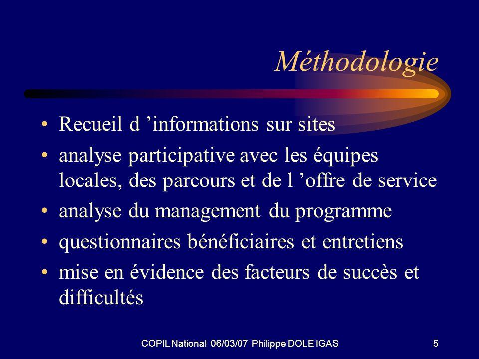 COPIL National 06/03/07 Philippe DOLE IGAS5 Méthodologie Recueil d informations sur sites analyse participative avec les équipes locales, des parcours