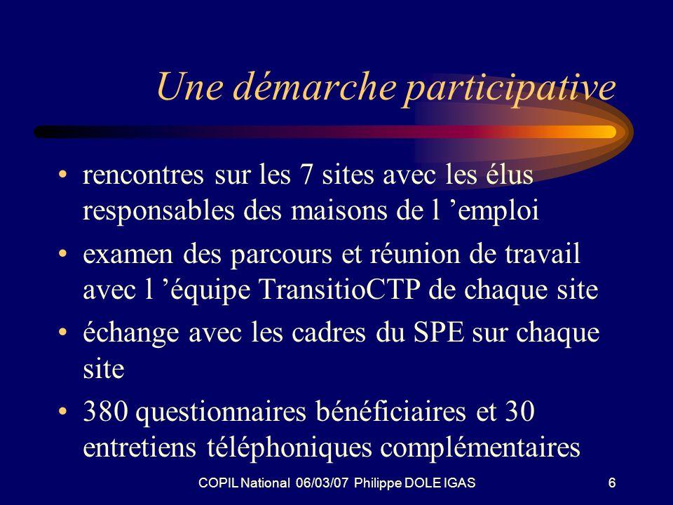 COPIL National 06/03/07 Philippe DOLE IGAS7 Une démarche participative Rencontre avec les partenaires sociaux au niveau national rencontre avec les directeurs de la DGEFP,DARES,DGAFPA,DGANPE,UNE DIC, AGEFOS- PME Entretien avec les Conseils Régionaux de Bretagne et Nord-Pas de Calais