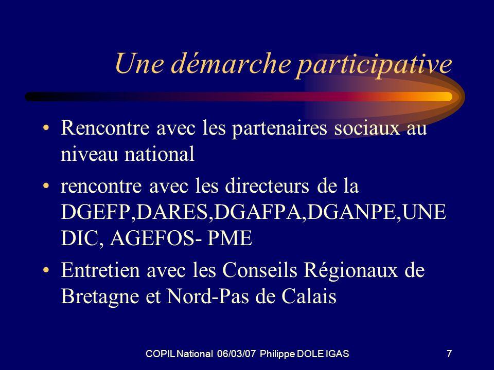COPIL National 06/03/07 Philippe DOLE IGAS7 Une démarche participative Rencontre avec les partenaires sociaux au niveau national rencontre avec les di