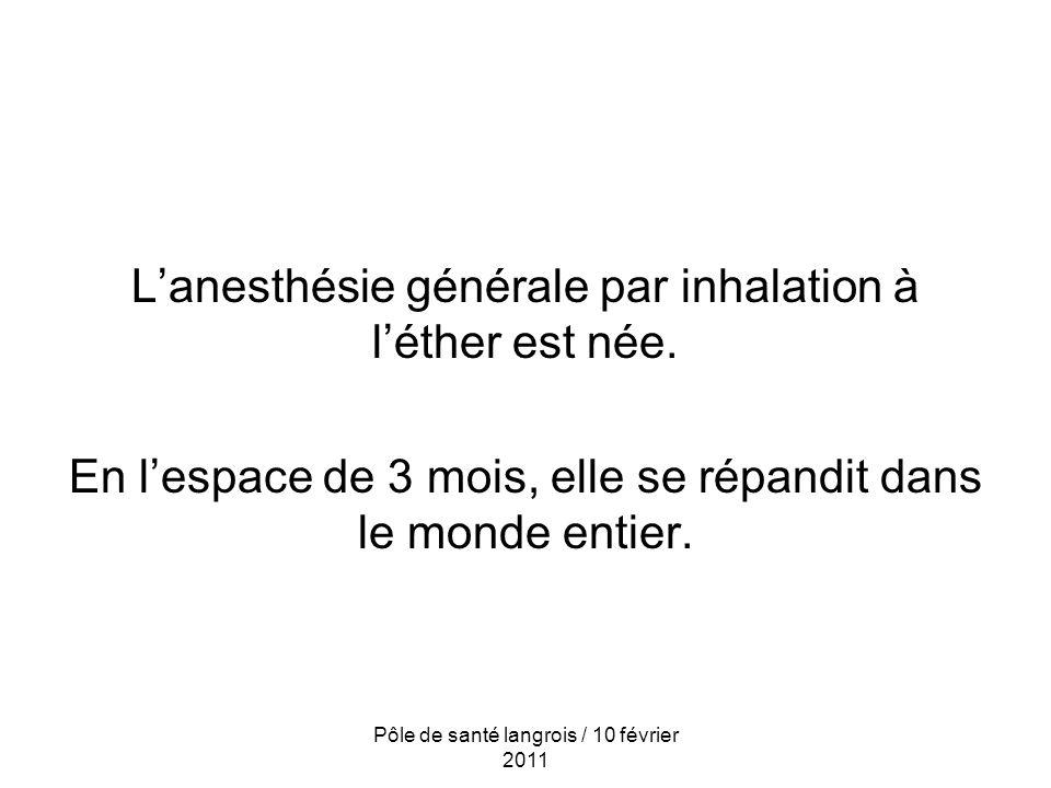 Lanesthésie générale par inhalation à léther est née.