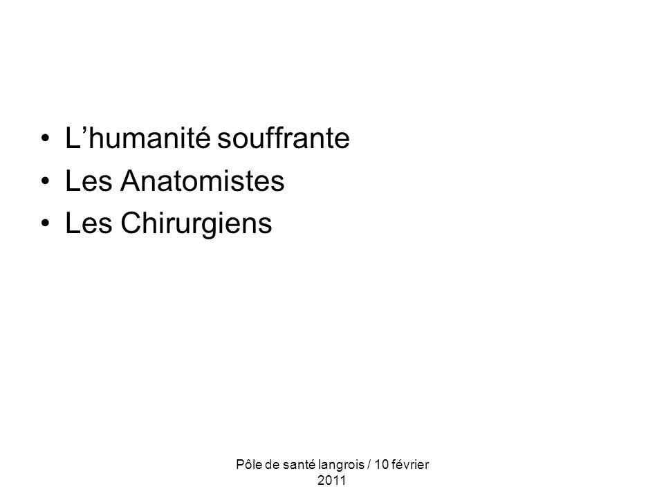Lhumanité souffrante Les Anatomistes Les Chirurgiens Pôle de santé langrois / 10 février 2011