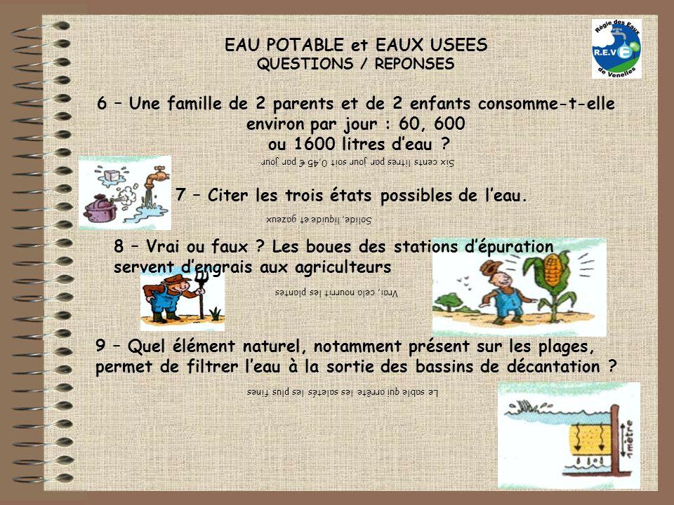 EAU POTABLE et EAUX USEES QUESTIONS / REPONSES 6 – Une famille de 2 parents et de 2 enfants consomme-t-elle environ par jour : 60, 600 ou 1600 litres deau .