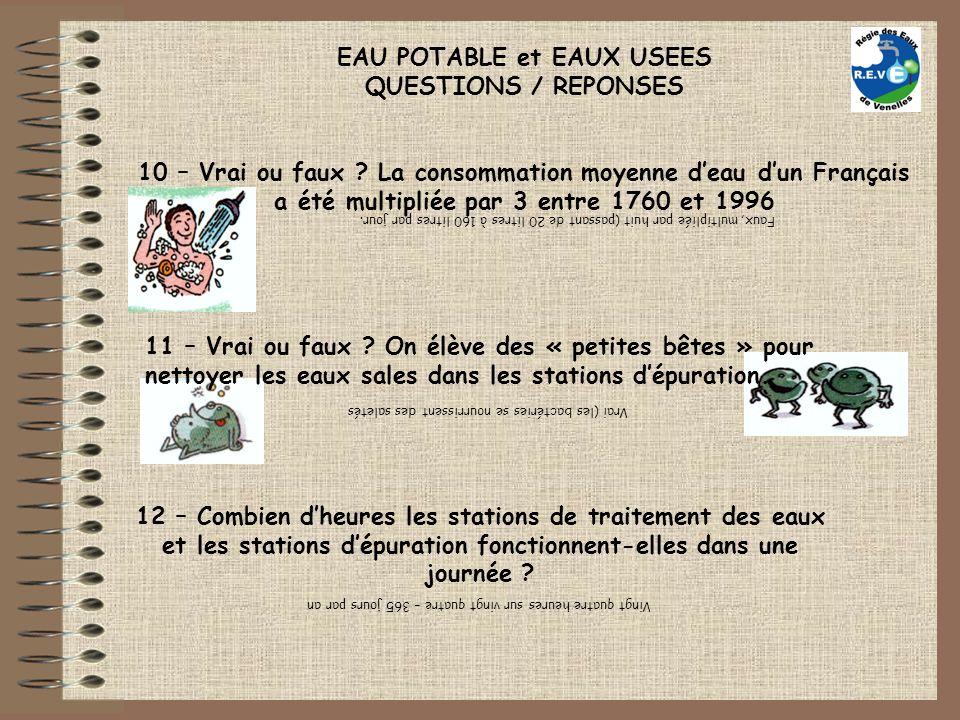 EAU POTABLE et EAUX USEES QUESTIONS / REPONSES 10 – Vrai ou faux ? La consommation moyenne deau dun Français a été multipliée par 3 entre 1760 et 1996