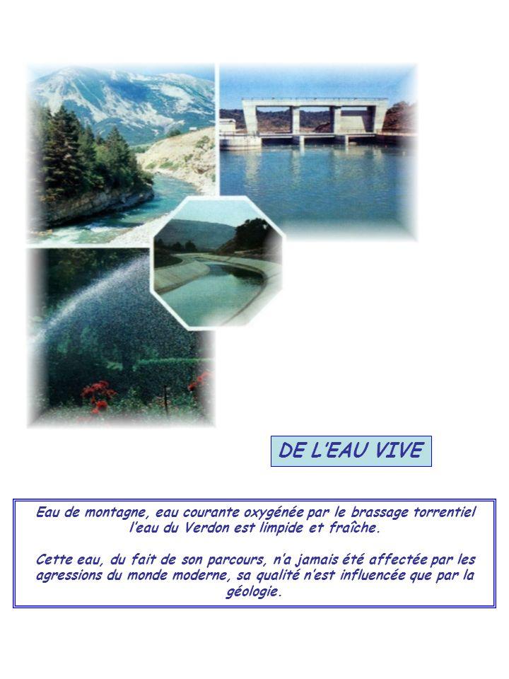 DE LEAU VIVE Eau de montagne, eau courante oxygénée par le brassage torrentiel leau du Verdon est limpide et fraîche. Cette eau, du fait de son parcou