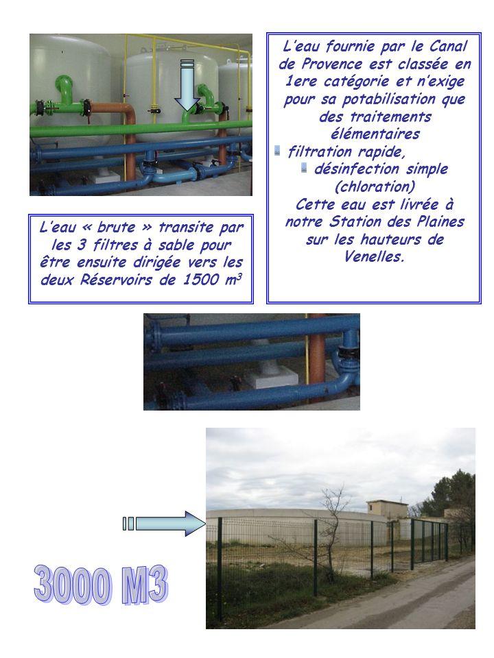Leau fournie par le Canal de Provence est classée en 1ere catégorie et nexige pour sa potabilisation que des traitements élémentaires filtration rapid