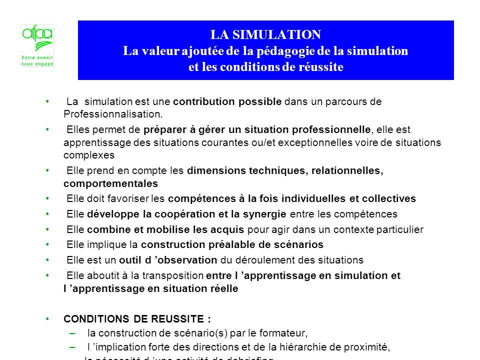 La simulation est une contribution possible dans un parcours de Professionnalisation. Elles permet de préparer à gérer un situation professionnelle, e