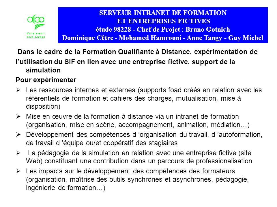 Dans le cadre de la Formation Qualifiante à Distance, expérimentation de lutilisation du SIF en lien avec une entreprise fictive, support de la simula