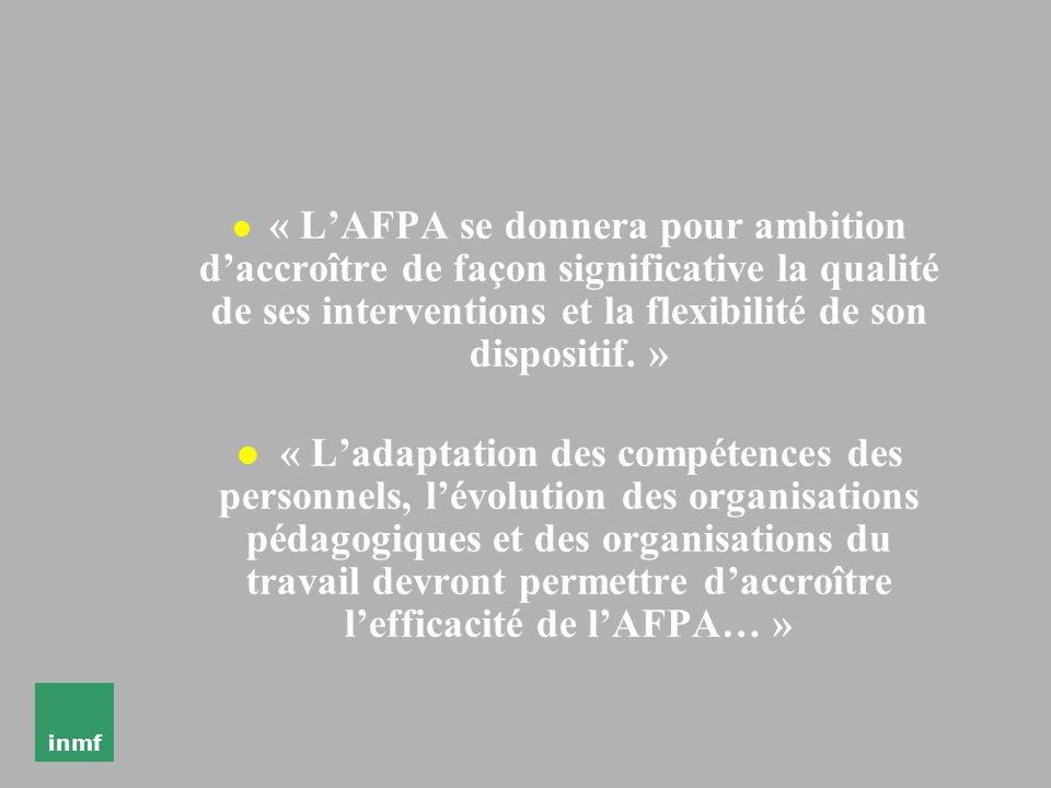 inmf « lAFPA contribue à la conception et à la mise en œuvre des politiques de lEtat dans le domaine de lemploi et de la FP » « lAFPA apportera sa con