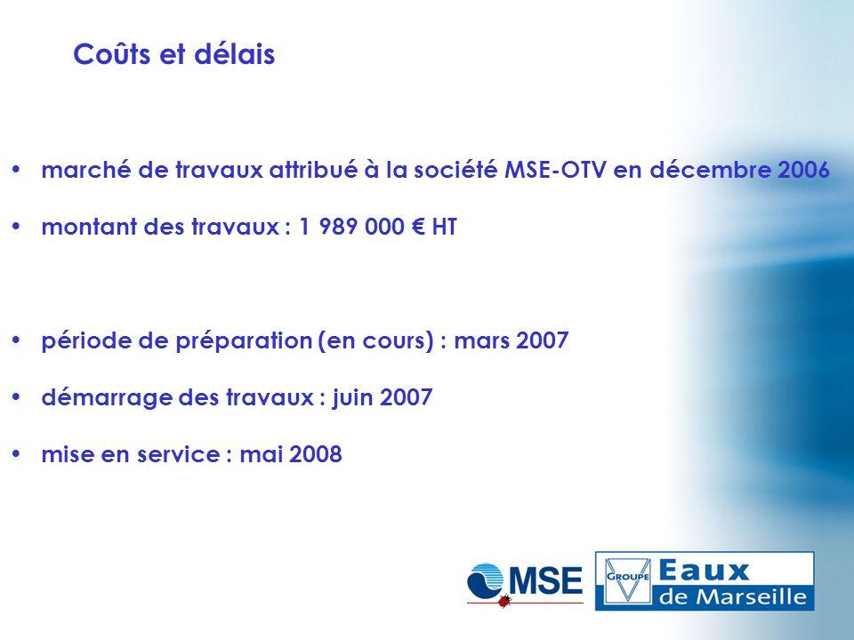 Coûts et délais marché de travaux attribué à la société MSE-OTV en décembre 2006 montant des travaux : 1 989 000 HT période de préparation (en cours)