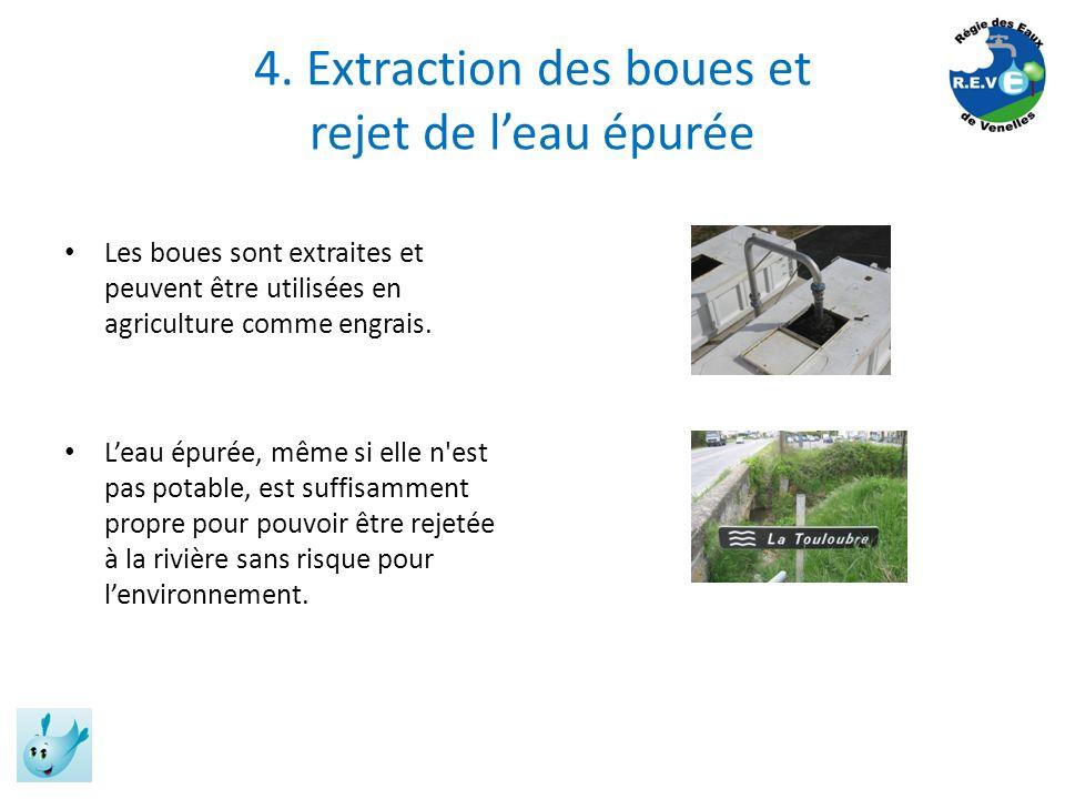4. Extraction des boues et rejet de leau épurée Les boues sont extraites et peuvent être utilisées en agriculture comme engrais. Leau épurée, même si